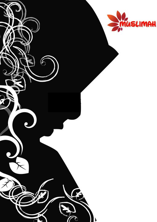 hijab animasi hitam putih   gambar islami